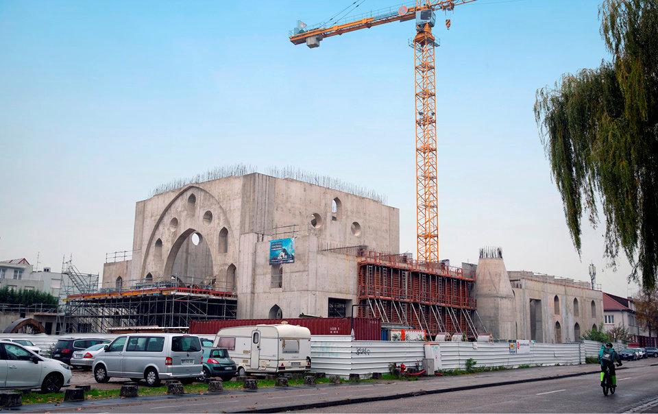 A l'arrêt. Le chantier dela mosquée Eyyub Sultan, dans le quartier de la Meinau, le 1ernovembre.