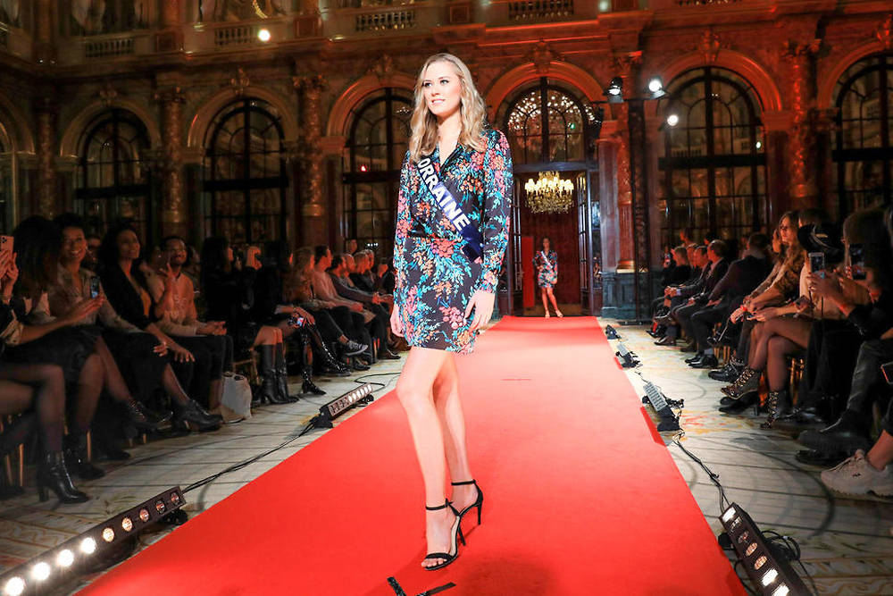 PARIS : Defile de presentation des candidates a l'election Miss France 2020 et conference de presse de l'election MIss France 2020