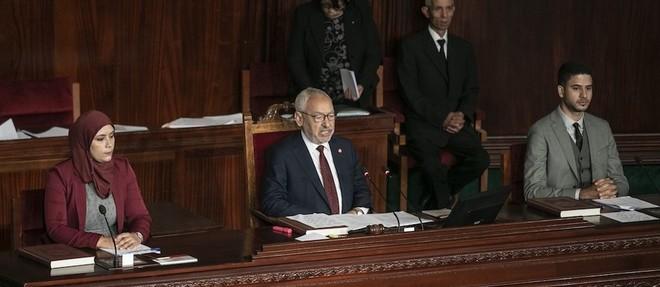 Desormais president de l'Assemblee des representants du peuple, Rached Ghannouchi est le 2e personnage de l'Etat tunisien. Ici, lors de la 1re session de la derniere legislature.