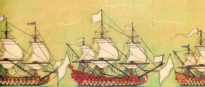«L'ordre de bataille de Velez-Malaga» (Jérôme Hélyot, années 1710): un rouleau manuscrit long de 5,87mètres (ci-contre) décrit les bateaux de la flotte franco-espagnole (ci-dessus, détail) participant à la bataille du 24août 1704contre la flotte anglo-hollandaise (bibliothèque du Service historique de la Défense).