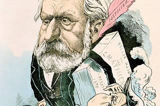 Le grand Victor Hugo, de retour de Guernesey, et le petit Napoléon III (caricature de Faustin, 1870).