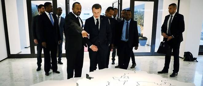 Abiy Ahmed and Emmanuel Macron in Addis Ababa on March 12, 2019.
