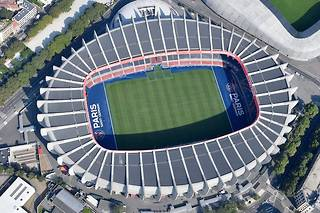Aerial view of the Parc des Princes stadium in Paris on July 14, 2018. (Photo by GERARD JULIEN / AFP)