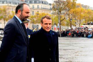 Emmanuel Macron et Edouard Philippe aux cérémonies du 11Novembre, àParis.  ©WITT/SIPA