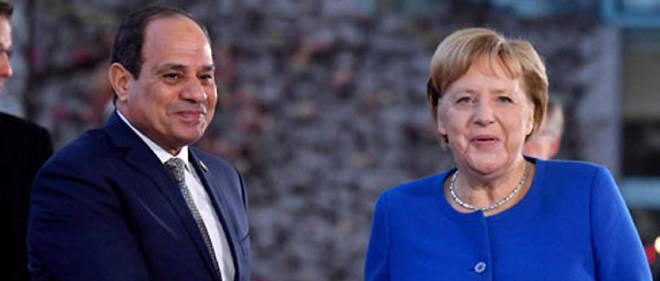 Parmi les principaux bénéficiaires du programme Compact With Africa, l'Égypte du président égyptien Abdel Fattah al-Sissi, ici avec la chancelière allemande Angela Merkel, le 19 novembre 2019.