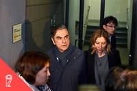 Carlos Ghosn n'avait pas échangé avec son épouse (à droite) depuis le mois d'avril dernier. L'entretien enregistré a été communiqué au juge