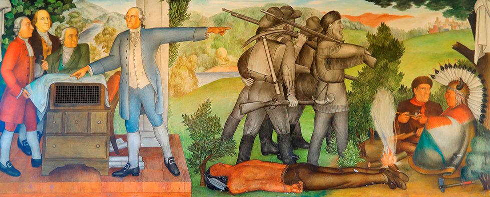 «Révisionnisme». La fresque murale «La vie de George Washington», réalisée en 1936par le peintre progressiste Victor Arnautoff et stigmatisant laviolence excercée sur les esclaves noirs ou les Amérindiens, va être détruite à la demande des descendants des opprimés.