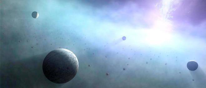 Représentation artistique de planètes en orbite autour d'un trou noir supermassif.