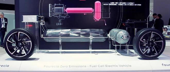 Les réservoirs et le système de propulsion à hydrogène, donc zéro émission de CO2, présentés par l'équipementier français Faurecia.