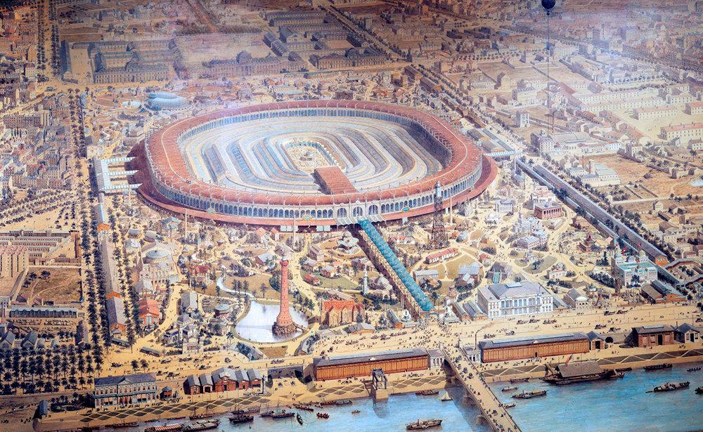 Foire. Sur cette gravure du musée Carnavalet, on découvre le Champ-de-Mars lors de l'Exposition universelle de 1867. Au centre, un bâtiment aux anneaux concentriques, projet de l'ingénieur Le Play.