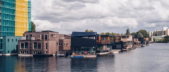 Vue du tout nouveau quartier de Schoonschip à Amsterdam qui se revendique comme autosuffisant.