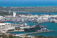 Vue générale de la base militaire américaine de Peal Harbor, à Hawaï le 29 juin 2012.
