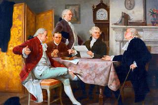Le «comité des cinq» (Thomas Jefferson, John Adams, Benjamin Franklin, Roger Sherman et Robert Livingston) rédige la Déclaration d'indépendance des Etats-Unis d'Amérique (votée le 4juillet 1776).