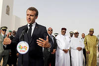 Le président Macron, le 2 juillet 2018, à Nouackchott (Mauritanie), en présence de ses homologues du G5 Sahel.