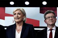 Marine Le Pen et Jean-Luc Mélenchon lors d'un débat sur France 2 sur les européennes.