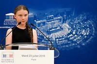L'activiste Greta Thunberg durant son discours à l'Assemblée nationale le 23 juillet.