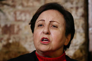 L'avocat iranienne Shirin Ebadi, Prix Nobel de la paix 2003, lors d'une conférence de presse à Londres le 14 janvier 2019.