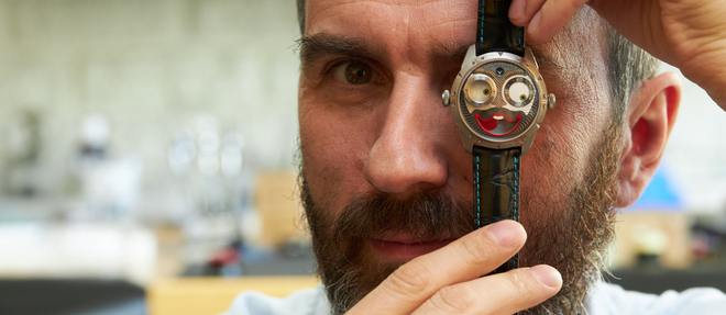 Konstantin Chaykin et sa montre Jokerprimée l'an dernier au Grand Prix d'Horlogerie de Genève.