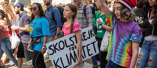 Greta Thunberg and protesters march during NYC Climate Strike rally and demonstration along Broadway. (Photo by Ron Adar / SOPA Images/Sipa USA)/27514894//1909230201