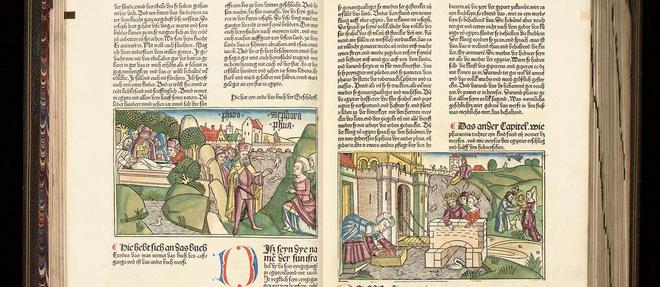 Manuscrit enluminé de la 9 e  édition de la première Bible en allemand, publiée à Nuremberg en 1483.