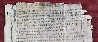 Extrait de l'Évangile de Jean sur le Papyrus Bodmer 66 (vers 200), Bibliothèque Bodmer,