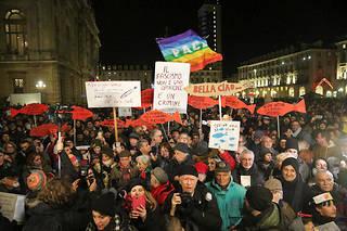 Un rassemblement des Sardines à Turin le 10 décembre 2019.