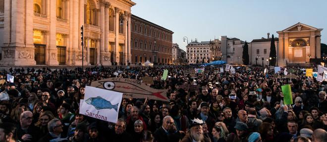 La démonstration de force des Sardines, hier à Rome