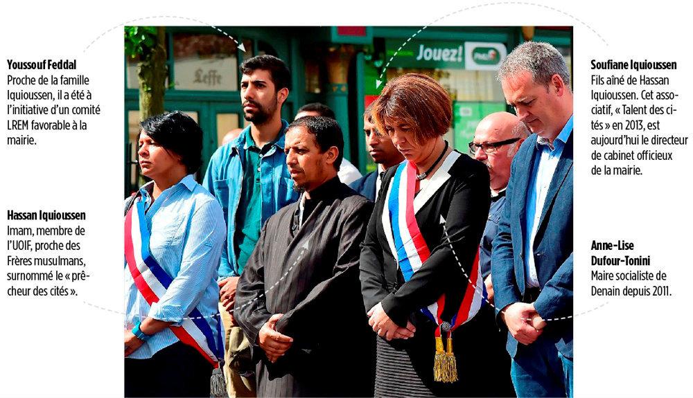 Premiere ligne. 30 juillet 2016. Rassemblement en hommage au pere Hamel, assassine le 26 juillet.  L'imam Hassan Iquioussen, proche des Freres musulmans, est convie a la ceremonie par la maire.