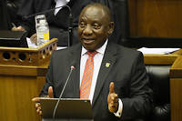 President Cyril Ramaphosa delivers his State of the Nation address at parliament in Cape Town on February 13, 2020. (Photo by SUMAYA HISHAM / POOL / AFP)