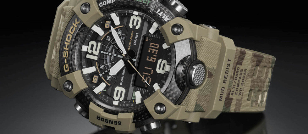 "<p style=""text-align:justify"">Montre Casio G-Shock Mudmaster British Army. Structure ""Carbon Core Guard"". Mouvement a quartz. Eclairage LED. Etanche a 200 m. 499 EUR.</p>"