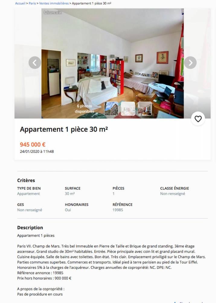 Annonce, appartement, Paris ©  Capture d'écran / Le Bon Coin