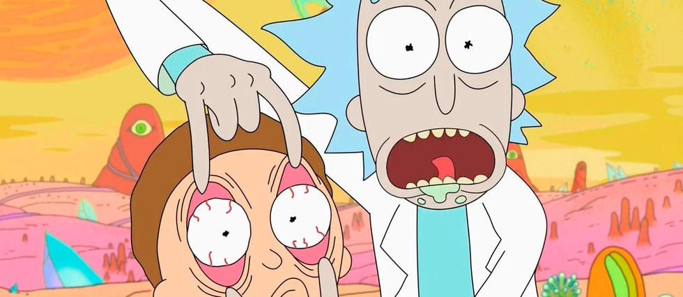 <em>Rick et Morty</em>, serie animee pour adulte, prend la forme d'une satire de la middle class americaine associee a une serie de science-fiction saturee de references a la pop culture.