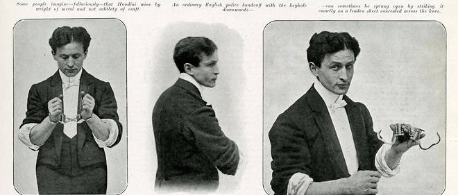 Harry Houdini (1874-1926), magicien, illusioniste et maitre du deconfinement.