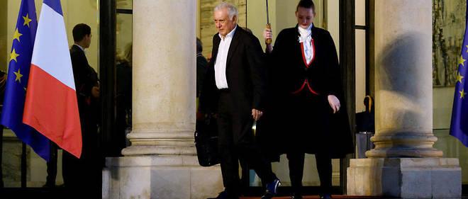 Le Pr Jean-Francois Delfraissy, president du Conseil scientifique, a la sortie de l'Elysee, le 5 mars .