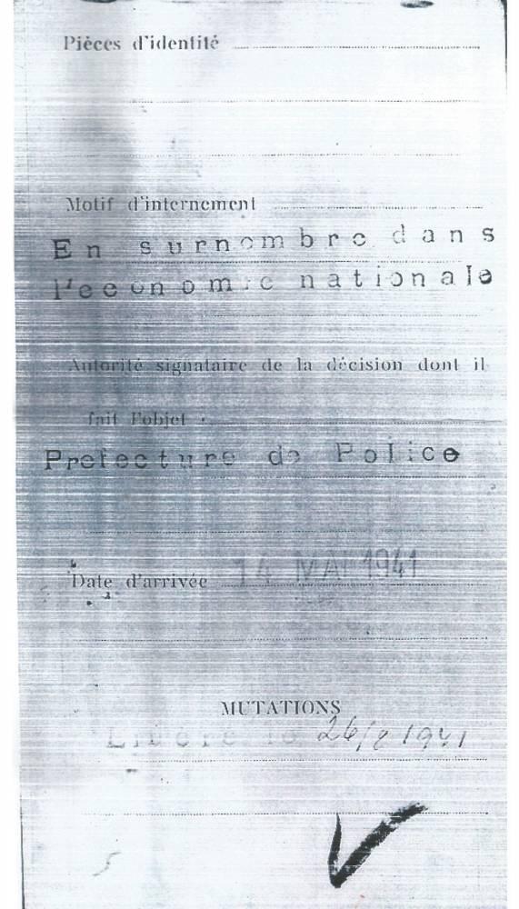 Préfecture de police, internement, juif, Occupation, 1941,  ©  Collection particulière
