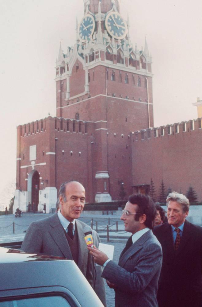 Yves Mourousi, Valéry Giscard d'Estaing, président de la République, place Rouge, Moscou, interview, 1975, ©  AFP