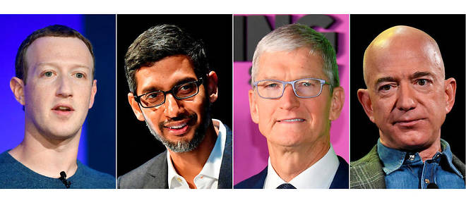 Mark Zuckerberg (Facebook), Sundar Pichai (Google), Tim Cook (Apple) et Jeff Bezos (Amazon) ont ete auditionnes par le Congres mercredi 29 juillet.