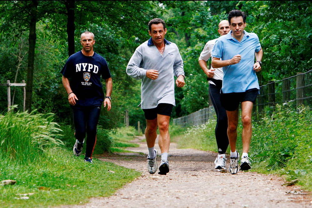 05/17/2007. Exclusive. French President Nicolas Sarkozy and French Prime Minister Francois Fillon during a jogging in Paris, few hours after the Prime Minister official handover ceremony