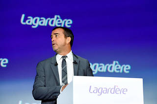 French media group Lagardere General and Managing Partner Arnaud Lagardere addresses the group's general meeting on May 10, 2019 in Paris. (Photo by ERIC PIERMONT / AFP)