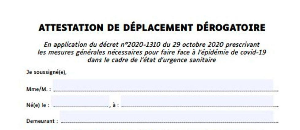 Confinement Voici La Nouvelle Attestation De Deplacement Derogatoire Le Point