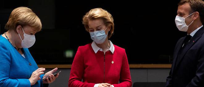 Angela Merkel, Ursula von der Leyen et Emanuel Macron en Juillate 2020.