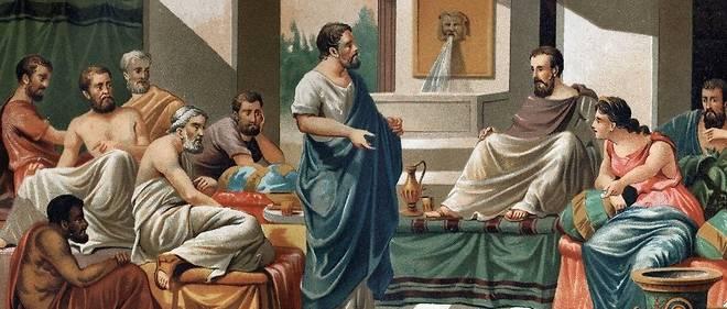 Le Banquet de Periandre (Tyran, ou Roi de Corinthe) pour le sept sages de la Grece. De gauche a droite : Bias, Esope, Anacharis, Cleobule, Solon, Pythagore, Periandre et sa femme Melisse.
