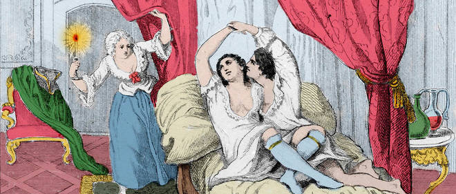 << Le libertin Giacomo Casanova avec Veronique et Annette >> : illustration tiree de << Histoire de ma vie >> (Memoires) de Giacomo Casanova. Gravure de 1872.