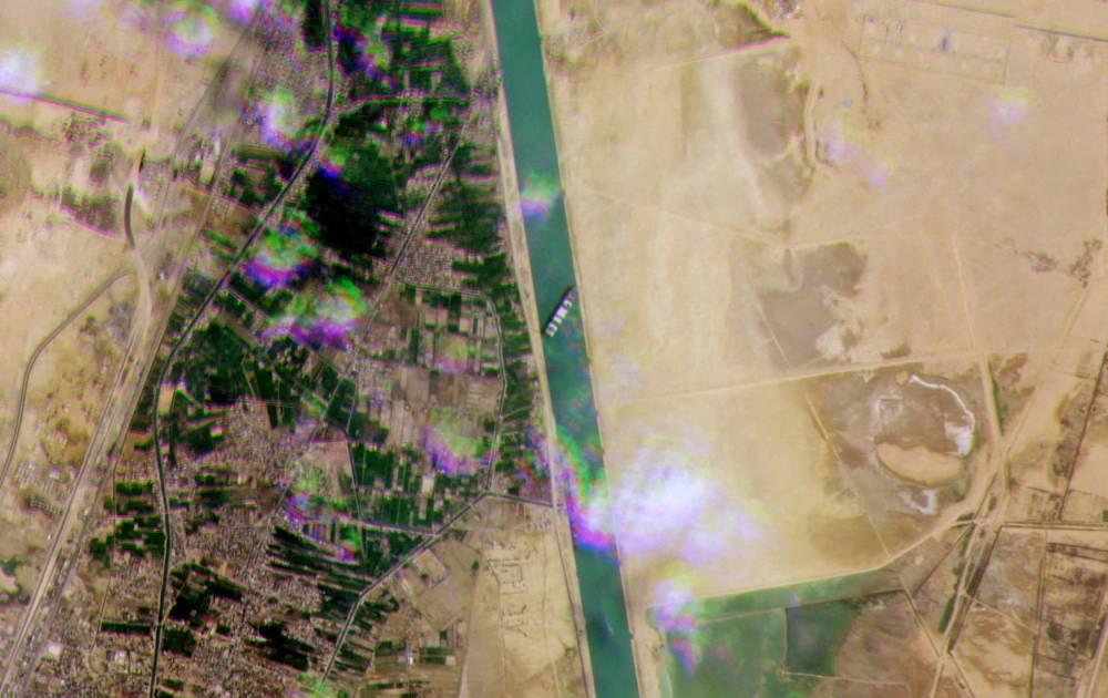 Transport maritime, Egypte, Caire, Canal de Suez, ©  - / Planet Labs / AFP