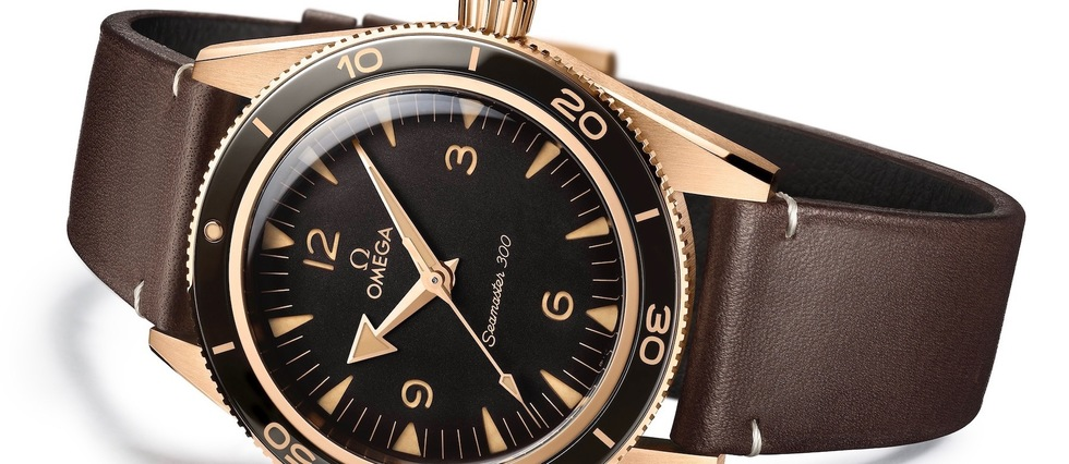 Montre Omega Seamaster 300 en or bronze.