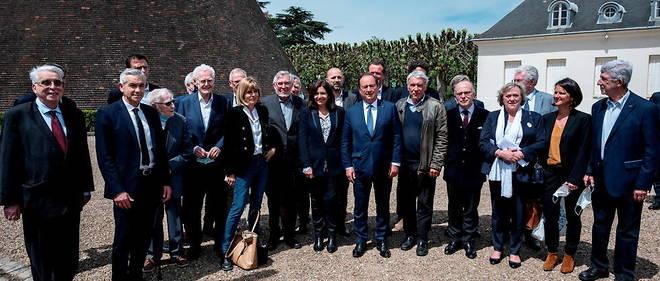 Francois Hollande avec Lionel Jospin, Anne Hidalgo au Chateau de la Verrerie au Creusot