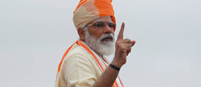 Le Premier ministre indien, Narendra Modi, a  New Delhi le 15 aout 2020.
