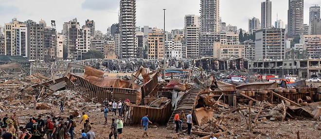 Photo prise le 4 aout 2020 apres l'explosion du port de Beyrouth.