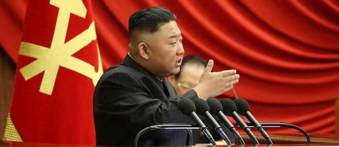 Kim Jong Un lors d'un discours a  Pyongyang, Coree du Nord, le 29 juin 2021.