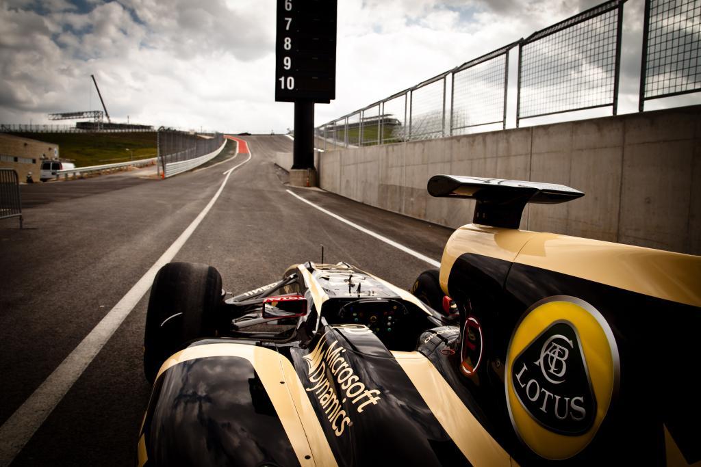 La Lotus, l'une des premières à s'aligner en piste à Austin où elle aimerait bien reitérer sa victoire du dernier GP